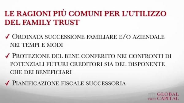 Ragioni del family trust